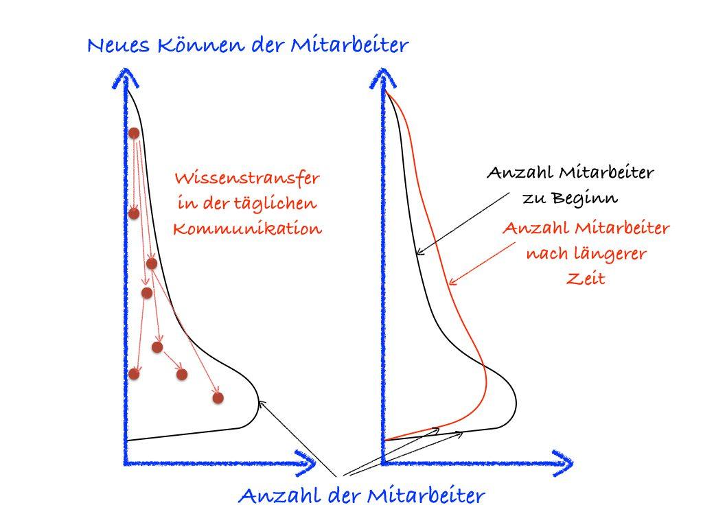 Verteilung der Mitarbeiterqualifikation - schwarz die Anzahl zu Beginn, rot die Anzahl nach längerer Zeit